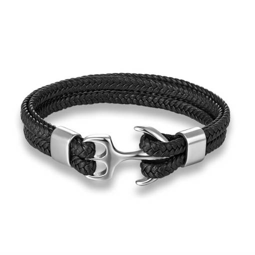 Bracelet-Corde-Tissée-en-Cuir-Ancre-Marine-argent