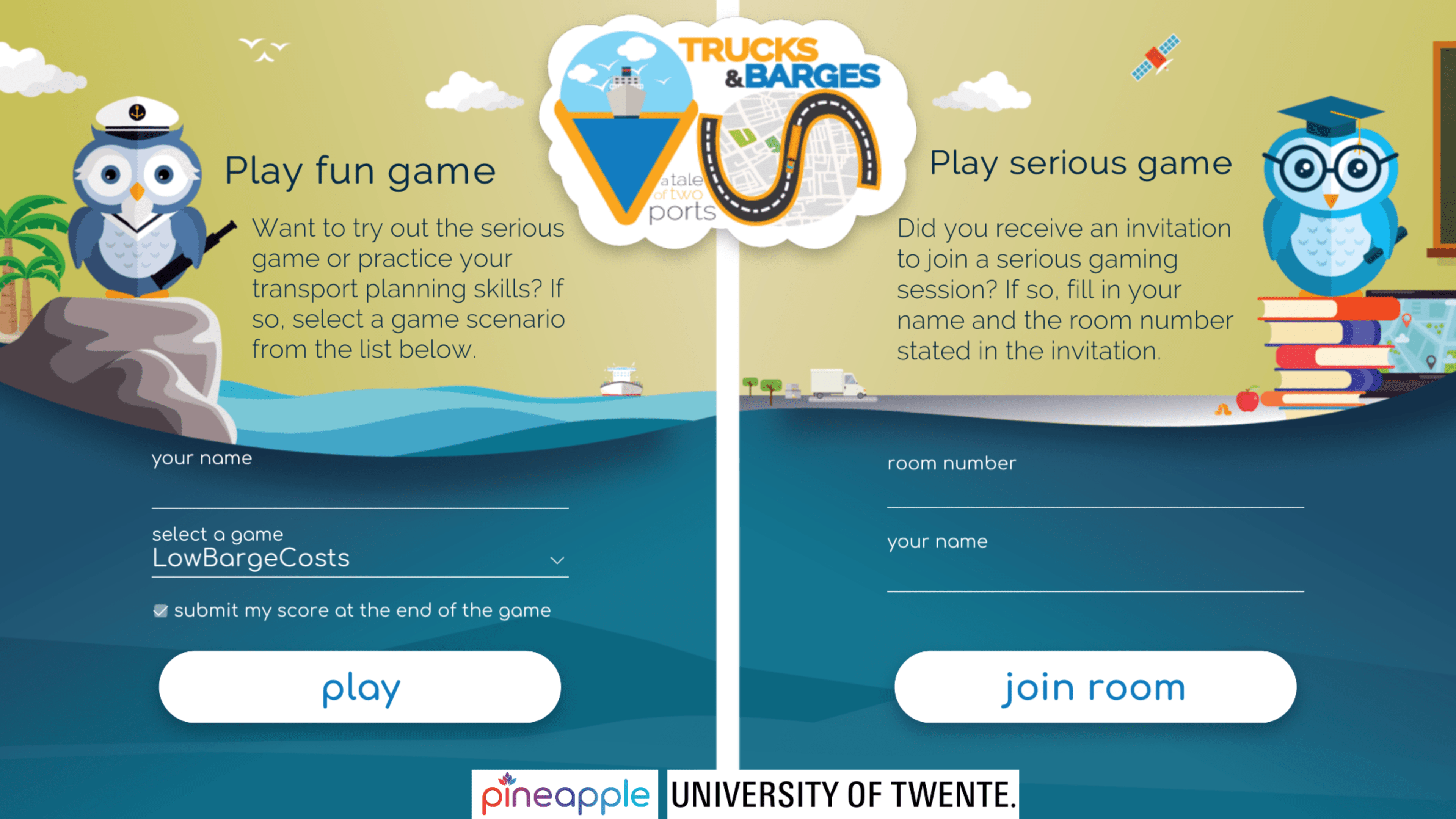 Trucks & Barges: Game Selection Screen