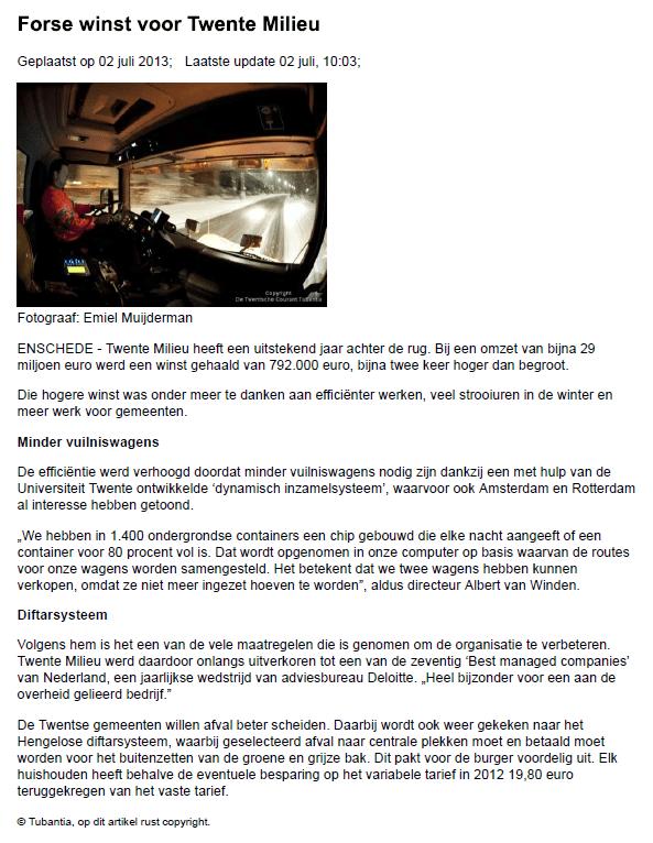 Twente Milieu: Tubantia Publication
