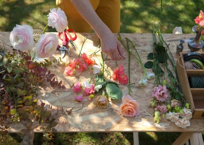 préparation et montage du bouquet