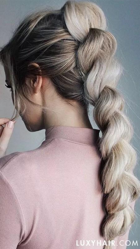 tresse inversée cheveux long blond