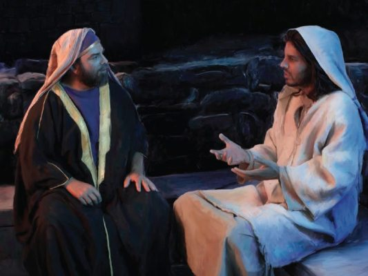 Jesus talking with a man