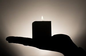 candle- in hand