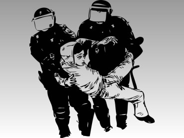 Riot police carrying young man by shoulders and feet