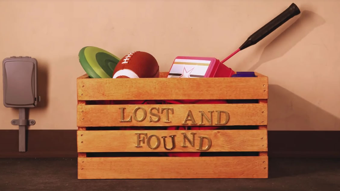 Lost and found box of toys