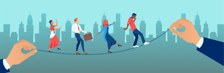 Diverse people walking tightrope