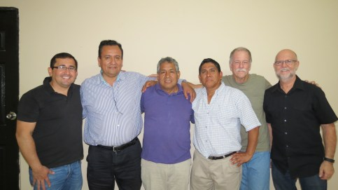 From Left to Right: Peru Leadership Team - Hector Del Carpio, Pastor Gilberto Varillas, Pastor Fabian Santillan, Pastor Jose Amaya, Chuck Moore and Brian Weller.