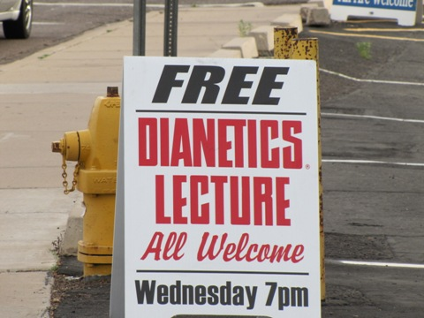 Scientology recruitment sign - Free Dianetics Lecture, All Welcome, Wednesday 7 pm