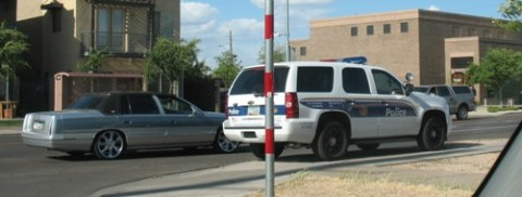 Phoenix Police Tahoe parked on the sidewalk