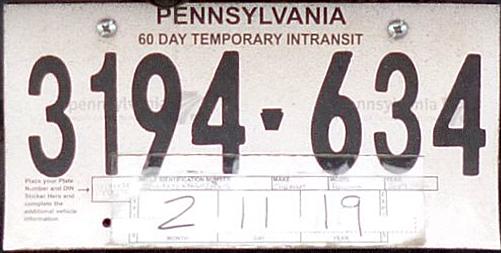 Pennsylvania Intransit Temp Tags