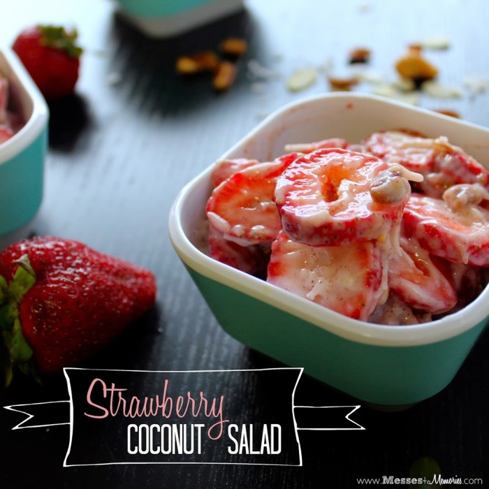 A dreamy salad that tastes just like dessert... Strawberry Coconut Salad from Messes to Memories