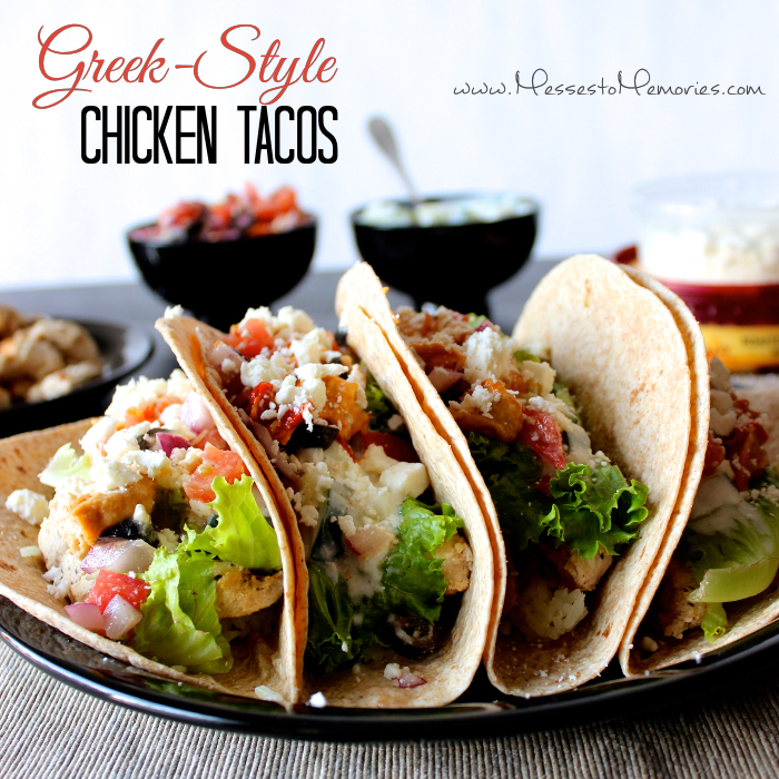 A unique and healthy Greek Style Chicken Taco from Messes to Memories