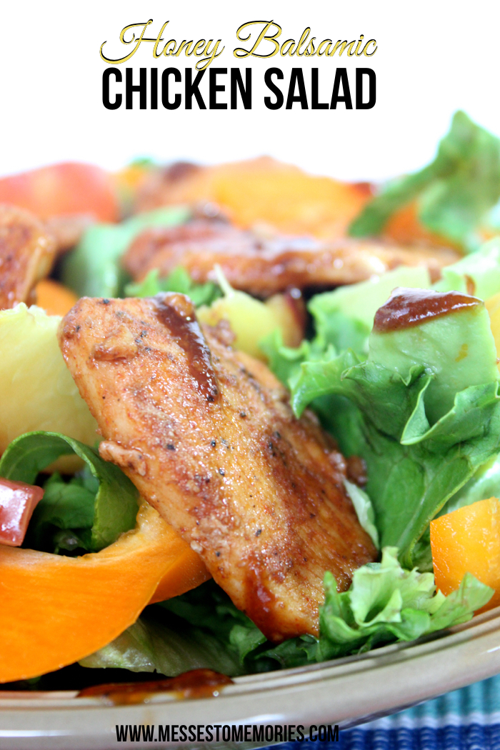 Peach and Chicken Salad with Honey Balsamic Dressing from Messes to Memories