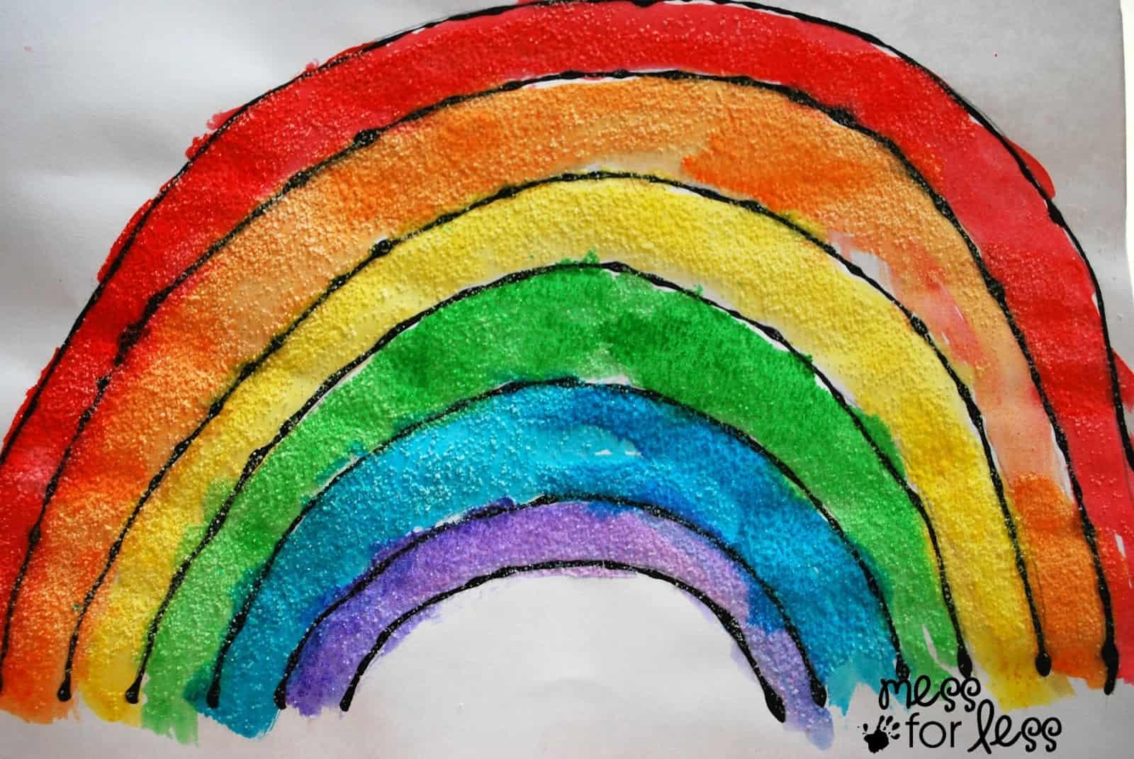 Black Glue And Salt Watercolor Rainbow
