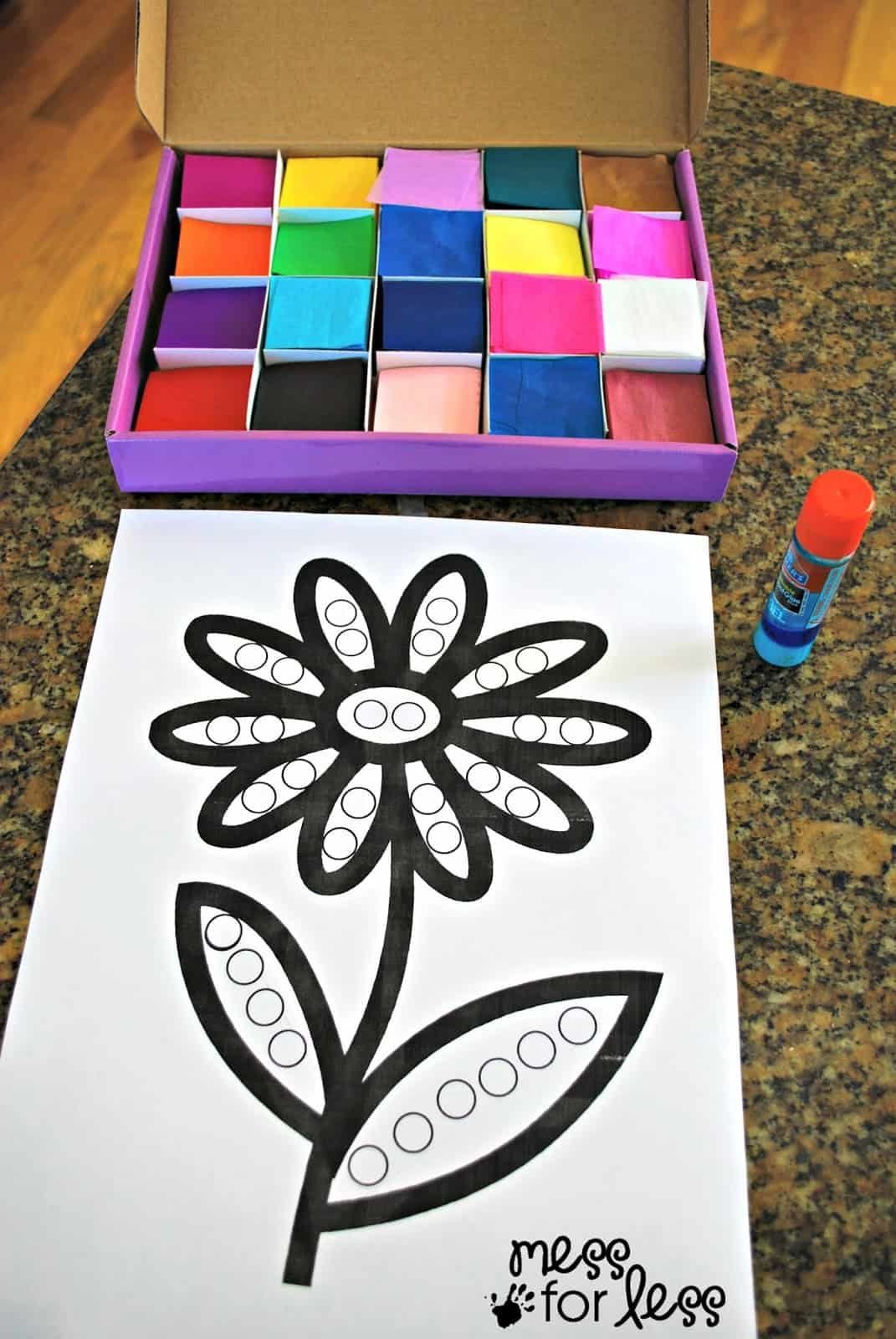 Tissue Paper Flower Art Activity