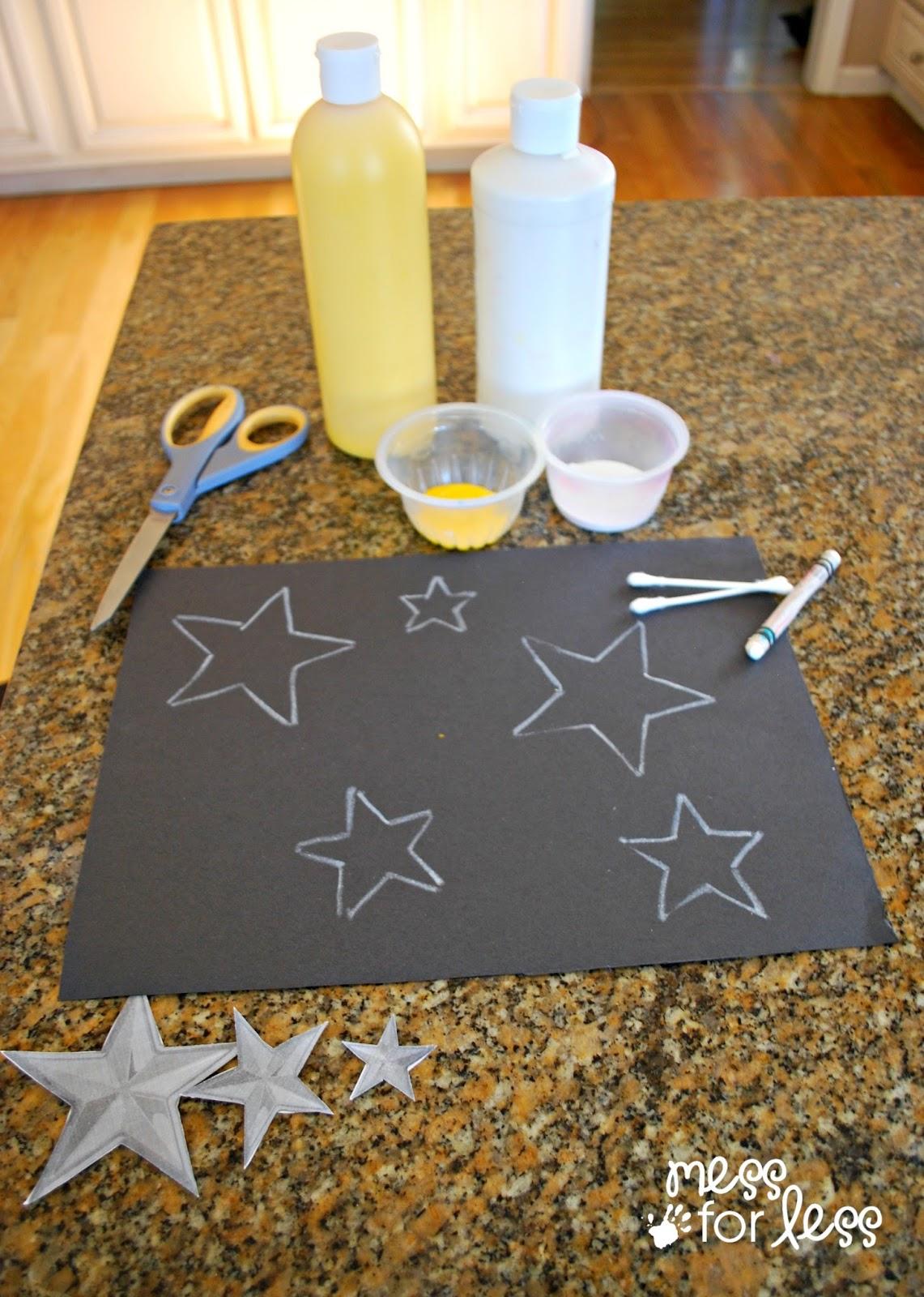 Kids Art Project Q Tip Star Art