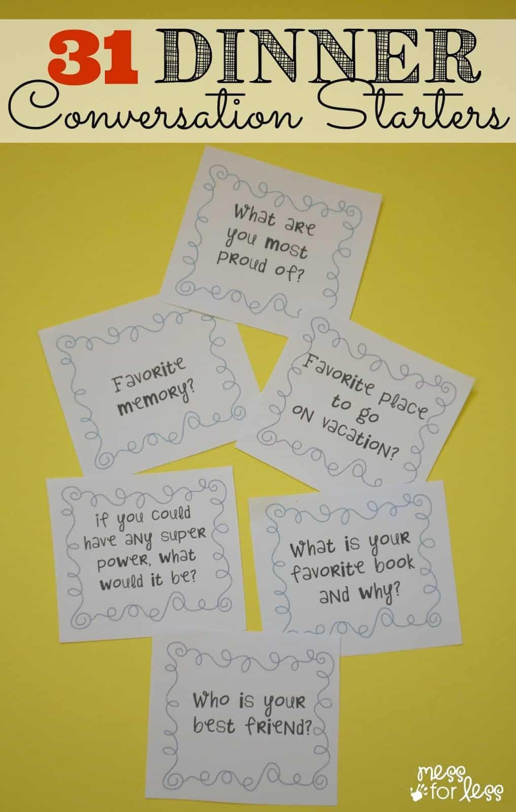 31 Dinner Conversation Starters Free Printable Mess