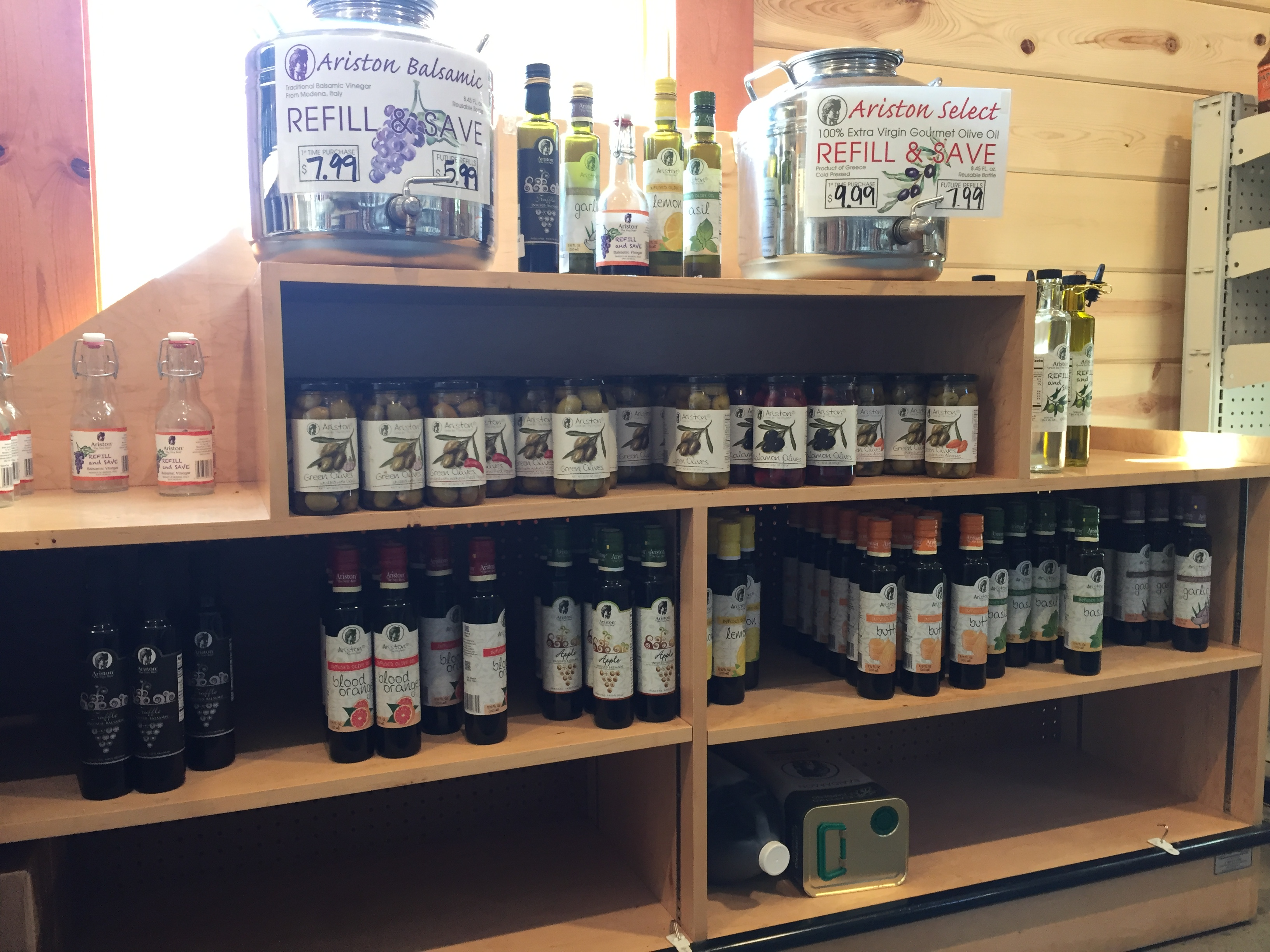 olive oils and olives at Messicks farms market