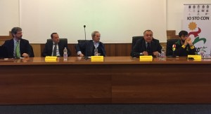 TAVOLO DEL CONVEGNO da sx Marco Carli, Giuseppe Bandieramonte, Sergio D'Antoni, Enzo Parrinello, Giorgio Avola