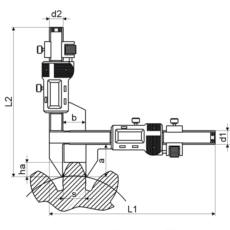 Digitaler Zahnweitenmessschieber Mit 2 Standard Modulen