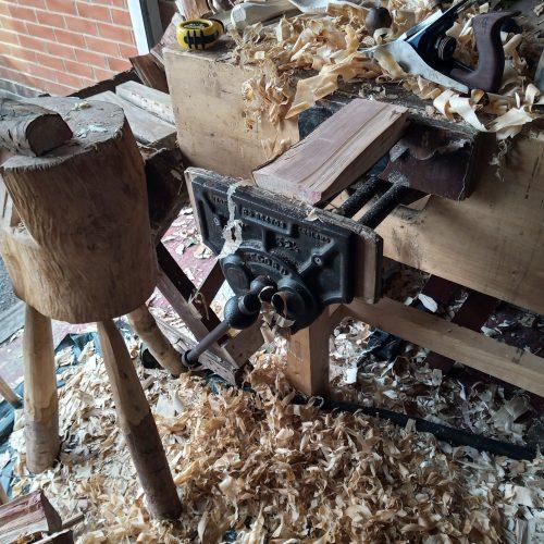 Wood shavings on Workbench