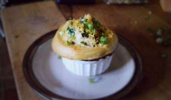 Mushroom and Roast Pot Pie with a Cheddar Biscuits Top