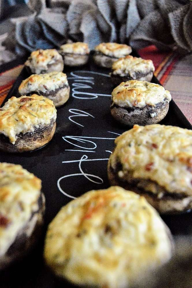 Bacon and White Cheddar Stuffed Mushrooms long shot