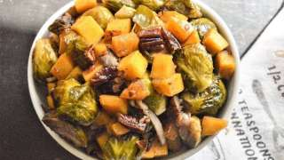 Maple Pecan Butternut Squash and Brussels Sprouts Medley