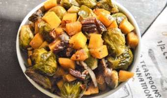 Maple Pecan Butternut Squash and Brussels Sprouts Medley Feature