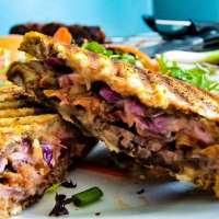 Bacon and Beer Cheese Corned Beef Panini