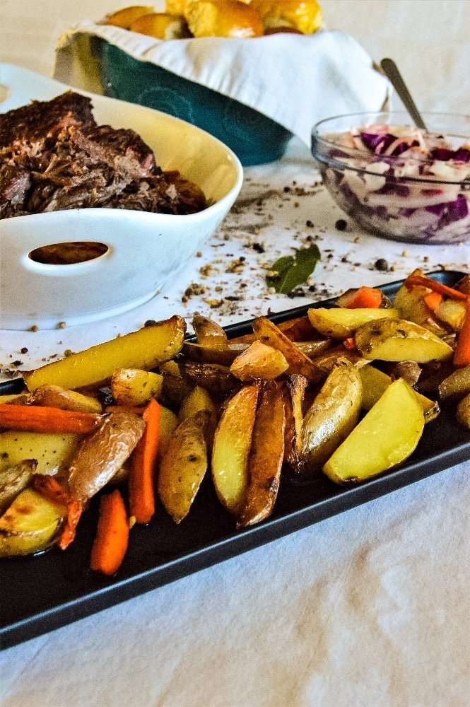 butter carrots and potato wedges Full