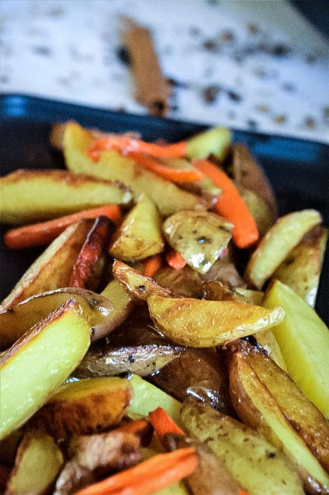 butter carrots and potato wedges Close