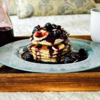 Banana Bread Pancakes with Blueberry Balsamic Syrup