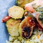 Grilled Lemon Herb Salmon veggies