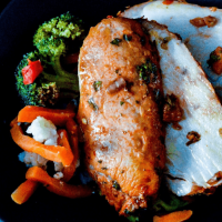 Chili Lime Pork Loin with Roasted Stir Fry Veggies