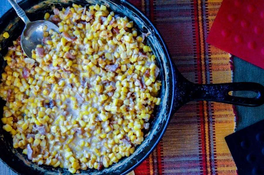 Over head full Skillet Chili Bacon Creamed Corn
