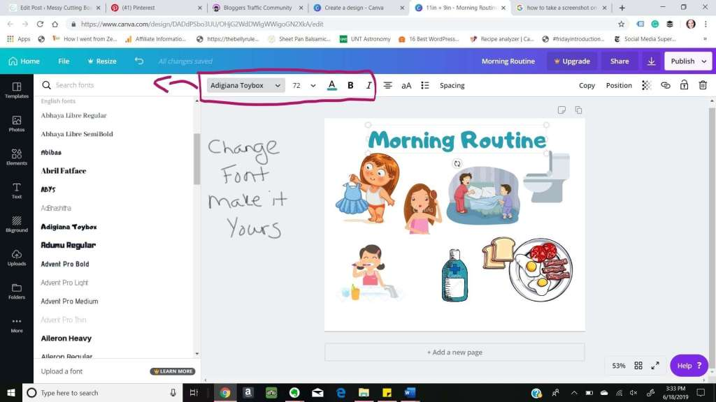 How to Morning Vs Night Routine Canva Font