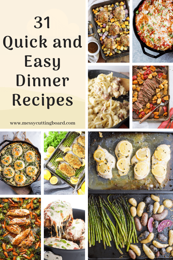 Pinnable Image for Quick Easy Dinner Ideas