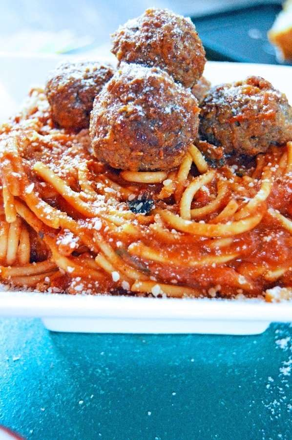 Close up Hidden Veggie Meatballs and Spaghetti