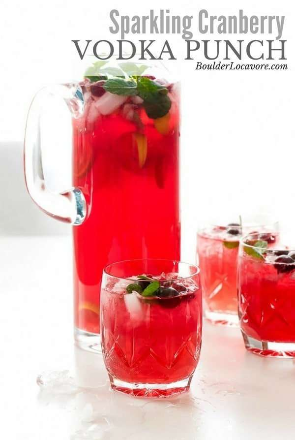 Sparkling Cranberry Vodka Punch is a 4 ingredient punch