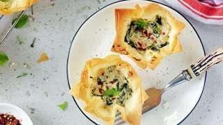 Easy Spanokopita recipe | Spinach Feta Filo Cups