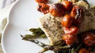 Roasted Mahi Mahi with Green Beans and Cherry Tomatoes