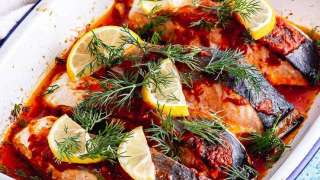 Harissa Roasted Salmon with Potatoes • The Cook Report