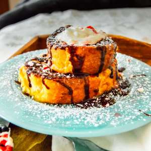 Delicious stack of Peppermint Mocha Stuffed French Toast