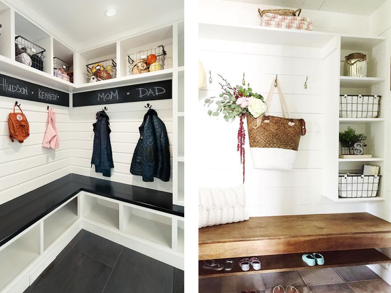 Under the stairs closet idea - adding seating and shelving to extend mudroom