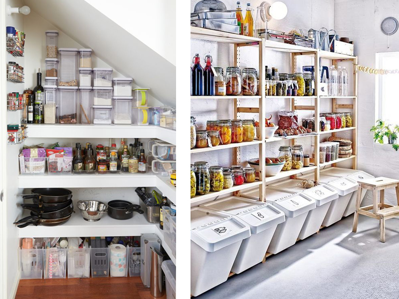 Under the stairs closet idea - building shelving for a pantry