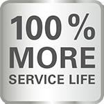 100% More Service Life