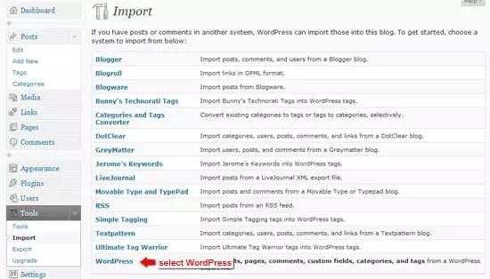 Page d'importation.