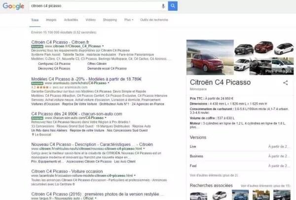Page de résultat Google SERP