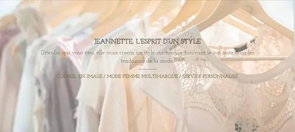capture d'écran du site web d'une boutique de mode pour femme à Paris